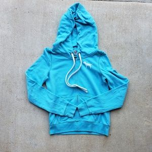 PINK Victoria's Secret Blue Zip Up Hoodie.